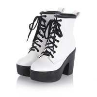 Women's Lace Up High Top Punk Platform Ankle Boots Pant shoes High Heel Shoes