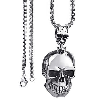 Large Double Silver Skulls Stainless Steel Biker Pendant Necklace Chain 45-90cm