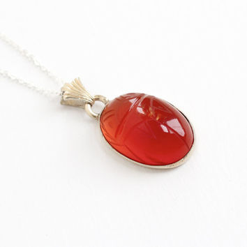 Vintage Sterling Silver Carnelian Scarab Pendant Necklace - Retro Large Carved Red Gem Egyptian Revival Beetle Bug Statement Charm Jewelry