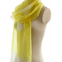 Pale Yellow naturally dyed scarf, generous size, hand dyed with plants, light silk ponge 5m, tie dyed shibori pattern, lemon vibrant yellow