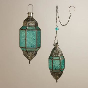 Blue Sabita Embossed Glass Hanging Lanterns - World Market