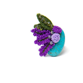 Bohemian Jewelry /  Turquoise Ring/ Crochet Lace Lavender Flower / Adjustable Ring / Floral Ring/ Fiber Art Jewelry/ FREE SHIPPING