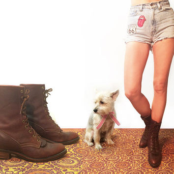 Vintage Leather Laredo Lace Up Tall Ankle Justin Style Kiltie Roper Western Boots || Size 9 Ladies || Like New 8.5