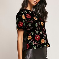 Floral Embroidered Velvet Top