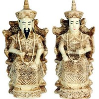 Oriental Furniture Classic Good Funny Unique Anniversary Gift Couples, 7-Inch Lucky Emperor and Empr