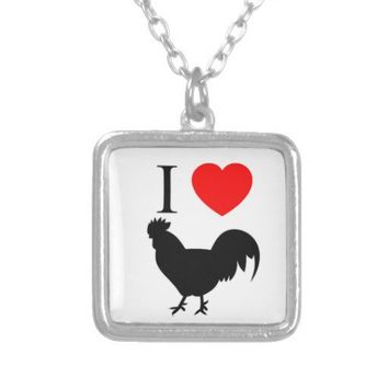 I Love Black Cock Square Necklace from Zazzle.com