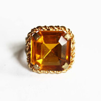 Vintage Yellow Rhinestone Ring - Yellow Rhinestone Cocktail Ring - Yellow and Gold Ring