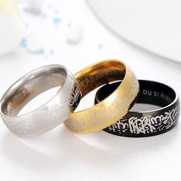 2017 Stainless Steel Muslim Allah Shahada Ring for Men  Islam Arabic God Messager Black Gold Band Muhammad Quran Middle Jewelry