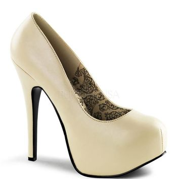 Bordello Cream Matte Slip On Stilettos