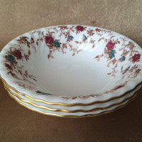 Minton Ancestral, Coupe Cereal Bowls, English Bone China, Gold Rimmed, Scalloped Edge, Ancestral Soup Bowls, Set of Three