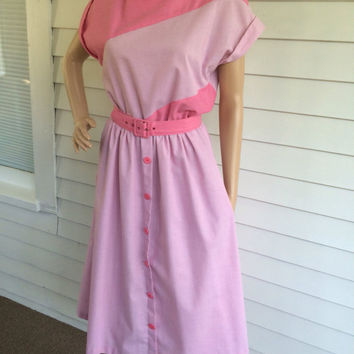70s Pink Dress Retro 50s Style Casual Secretary 1970s Vintage S 5 6