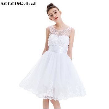 2017 New White Lace Cocktail Dress tulle Sleeveless Applique Pearls Short Mini Vestidos de Prom Gown girls Formal Party Dresses
