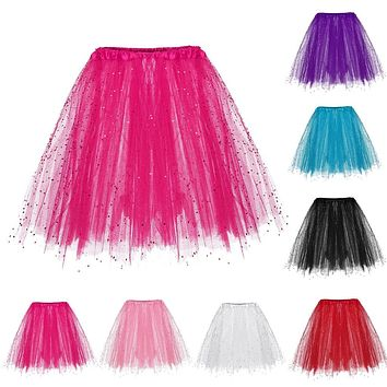 JAYCOSIN Paillette Pleated Skirt Fluffy Chiffon skirt Adult Tutu Skirts Princess skirt For Party Dance Princess Tulle clothes