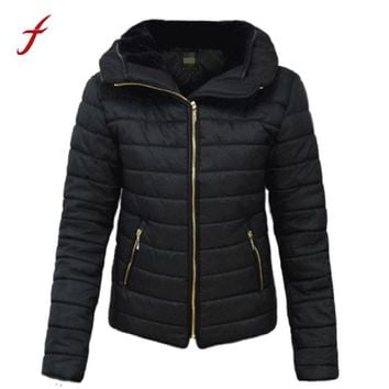 women parkas Ladies Quilted Padded Puffer Bubble Fur Collar Warm Thick Women Winter Cotton Jacket Coat Parkas Female Outwear