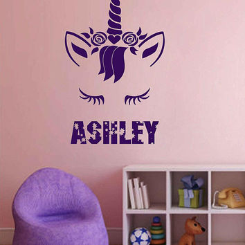 Personalized Name Unicorn Wall Decal Custom Name Unicorn Wall Sticker Vinyl Decal Monogram Girls Room Children Nursery Wall Decor ik3473