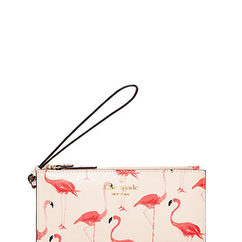 Kate Spade Cedar Street Flamingos Slim Bee Shell Pink ONE