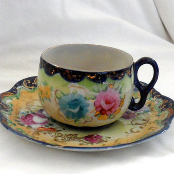 Vintage PORCELAIN HAND PAINTED Cup n Saucer/Damaged Cup/Embossed Gold Painted Filigree and Beading/unknown origin/Goof For jewellery Making