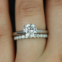 Alberta & Petite Bubbles WITH Milgrain 14kt Round FB Moissanite and Diamond Solitaire Wedding Set (Other metals and stone options available)