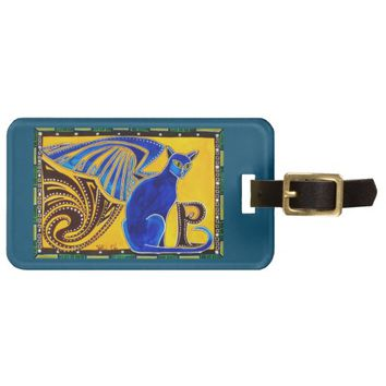 Winged Feline Hybrid Warrior Cat Design Luggage Tag