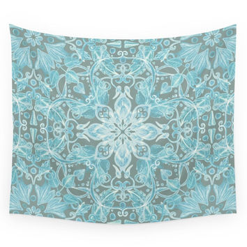 Society6 Soft Teal Blue Grey Hand Drawn Floral Pa Wall Tapestry