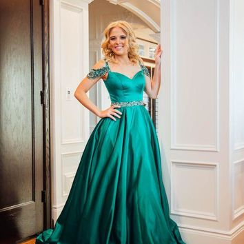 Off Shoulder Beaded Strap Prom Gown Green Prom Dress