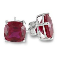 Sterling Silver 8mm Cushion Created Ruby Solitaire Earrings