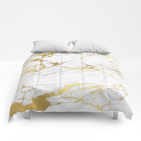 White gold marble Comforters by printapix