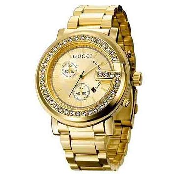 GUCCI Trending Women Men Personality Two Eye Diamond Movement Quartz Watches Business Wrist Watch Gold I