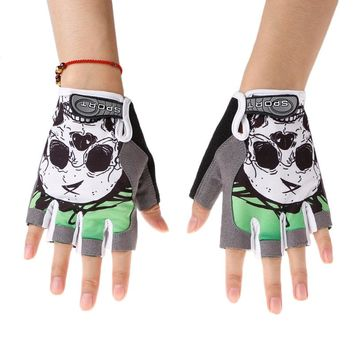 Cycling Gloves Half Finger Skull Breathable Anti Sweat Non Slip Gel