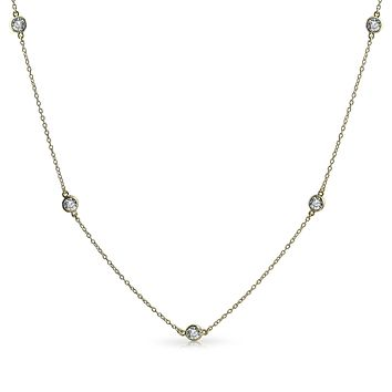 CZ By the Yard Tin Cup Chain Wrap Layer Necklace 925 Sterling Silver