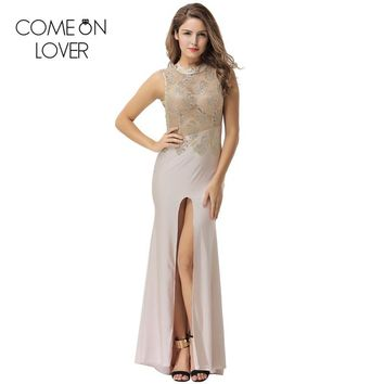 Comeonlover Mesh lace overlay slit abiye gece elbisesi backless summer maxi dresses sequined beautiful sexy sheer dress VE1072P