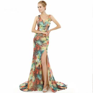 Special occasion Formal Prom Dresses long Mermaid Side Split Flower Pattern Floral Print Chiffon Evening Dress