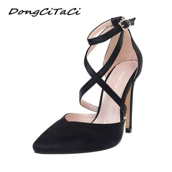 Women's Cross-Cross Ankle Strap High Heel Shoes