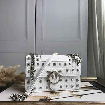 Kuyou Gb69729 Pinko Women¡¯s Love Bag Idillio In Leather With Studs And Pearls White Clutch Bag 27-18-8cm