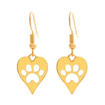Silver/Gold Heart-shaped Paw Print Earrings