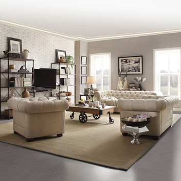TRIBECCA HOME Knightsbridge Beige Linen Tufted Scroll Arm Chesterfield Sofa | Overstock.com Shopping - The Best Deals on Sofas & Loveseats
