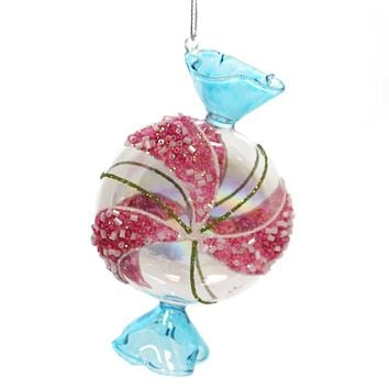 Holiday Ornaments WRAPPED MINT CANDY Glass Christmas Treat T2289 Blue