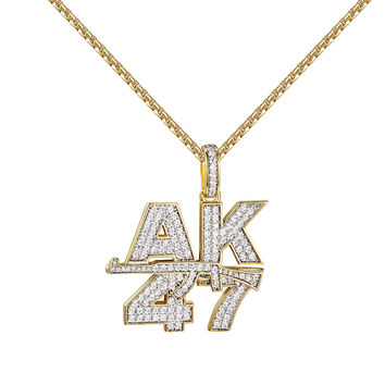 "AK-47 Assault Gun Pendant 14k Gold Finish Simulated Diamonds 2mm 24"" Chain"