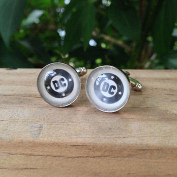 D.C. Comic Book Logo Cufflinks (Ready to Ship) - Groom's Corner - Wedding Cufflinks - Everyday Cufflinks