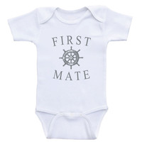 "Nautical Baby Boy Clothes ""First Mate"" Baby One-Piece Shirts For Boys"