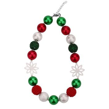 Christmas Snowflake Chunky Bubblegum Necklaces Girls Toddler Jewelry