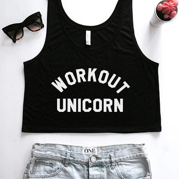 workout unicorn cropped tank top women crop top