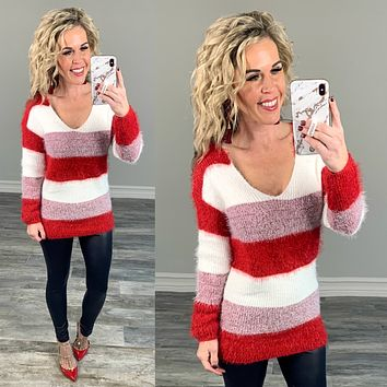 Red & White Cozy Sweater