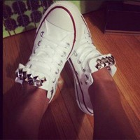 DCCKHD9 Custom Studded White Converse All Star - Chuck Taylor Shoes - ALL SIZES & COLORS!