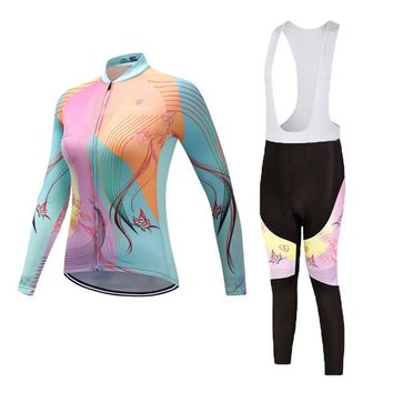 2018 Cycling Jersey Set Long Sleeve Pro Bike Bib Pants Set Ropa Ciclismo Women Cycle Wear Bicycle Uniformes Maillot Sportwear