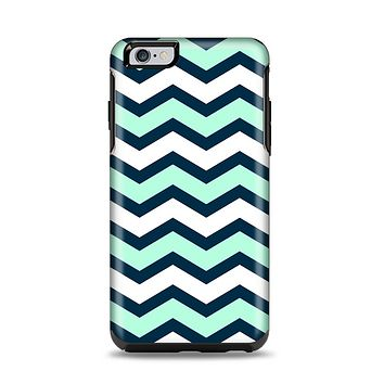 The Teal & Blue Wide Chevron Pattern Apple iPhone 6 Plus Otterbox Symmetry Case Skin Set
