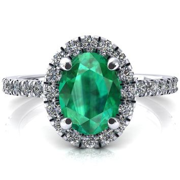Talia Oval Emerald 4 Prong Halo 3/4 Micropave Engagement Ring
