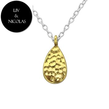 Solid 925 Sterling Silver +14 K Gold Plated Plain Golden Drop Necklaces