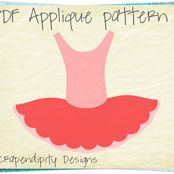 Ballerina Applique Pattern - Ballet Applique Template / Girls Ballerina Quilt Pattern / Toddler Ballet Shirt / Pink Baby Clothes AP215