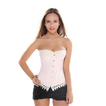 VONG2W Jacquard Pink Lace Up Boned Overbust Corset Carnival Brocade Breathes Bustier Waist Trainer Corselet Plus size S-6XL